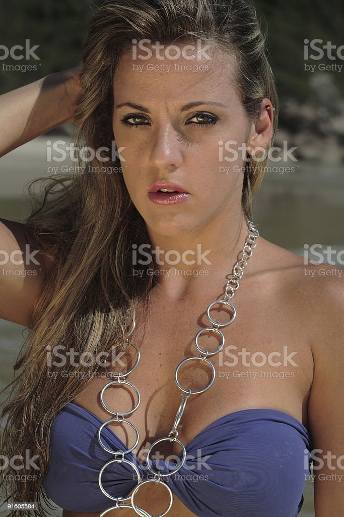 Model at the Beach royalty-free stock photo
