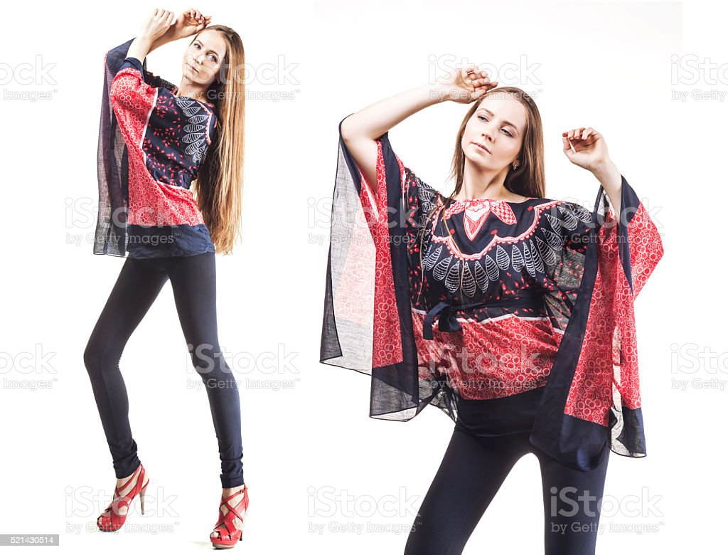 Model beautiful women in  tunic and leggings in length isolated stock photo