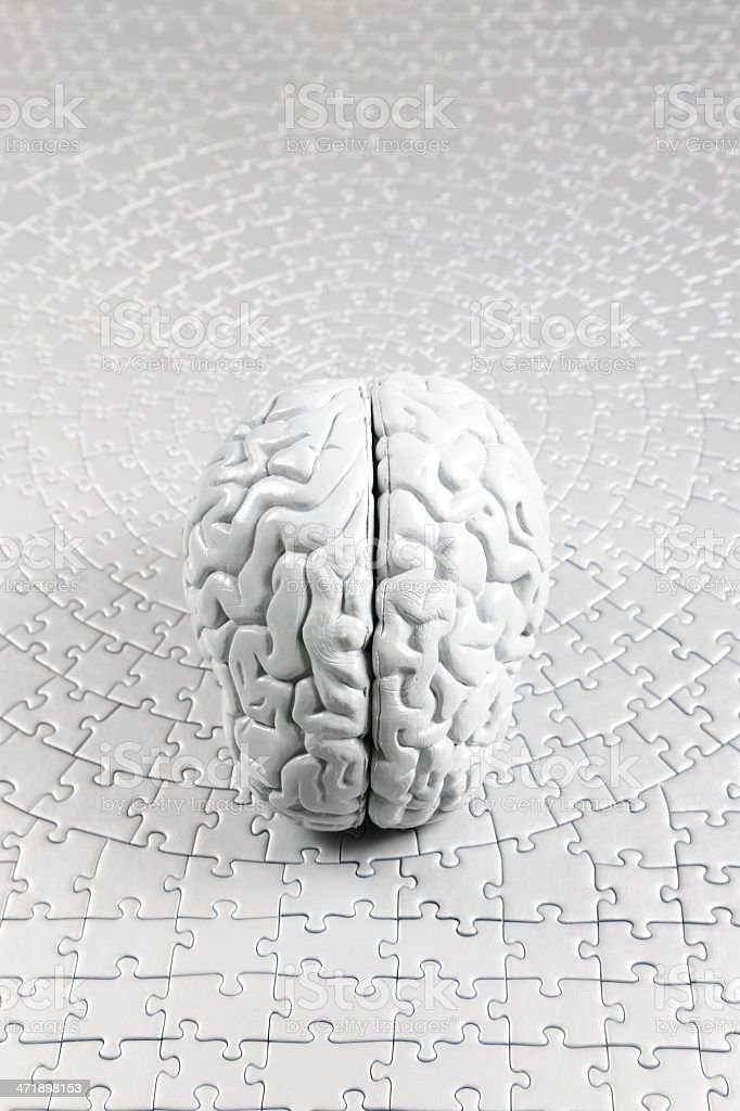Model Brain on Jigsaw Puzzle Background royalty-free stock photo