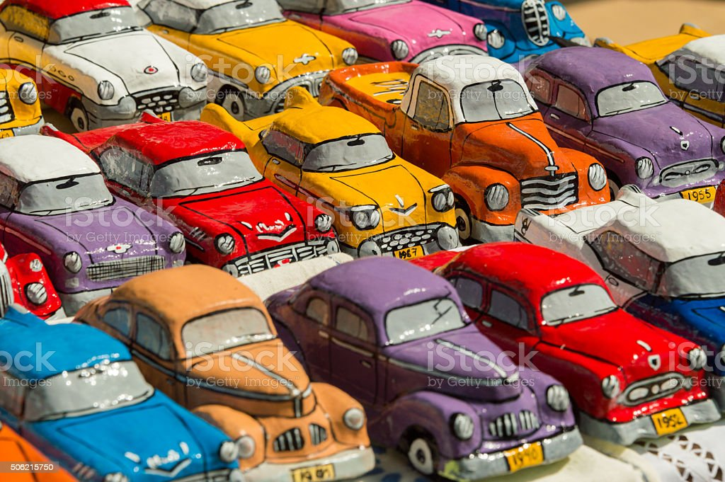Model Cuban cars sold on the market stock photo