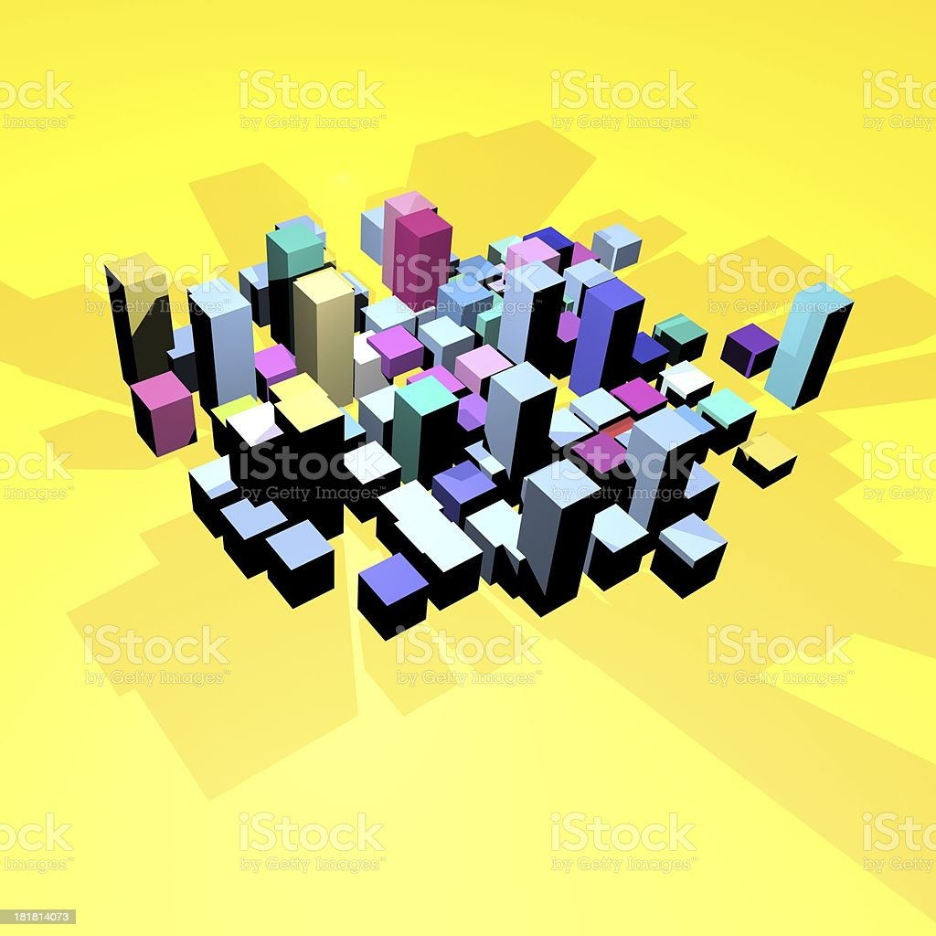 3D model cube with yellow background royalty-free stock photo