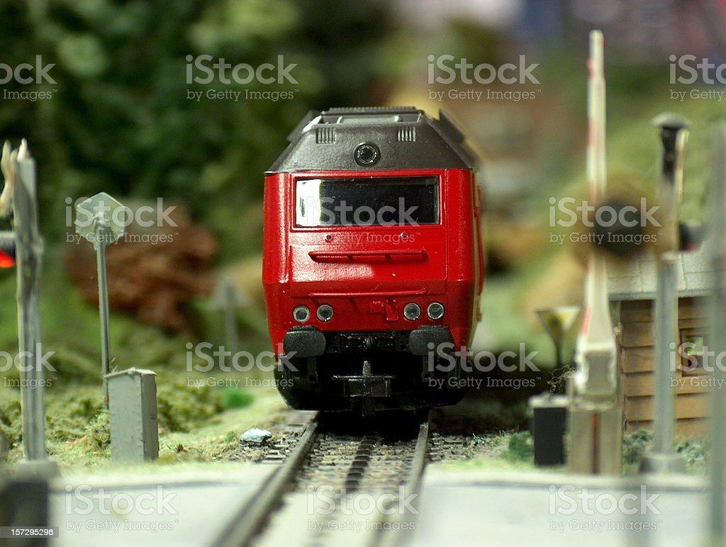 Model diesel Locomotive scale H0 passing crossing stock photo