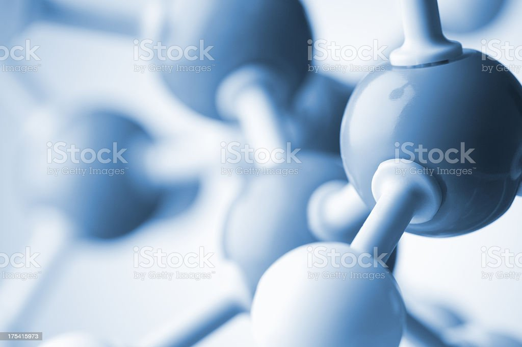 Model DNA atoms and chromosomes connected together stock photo