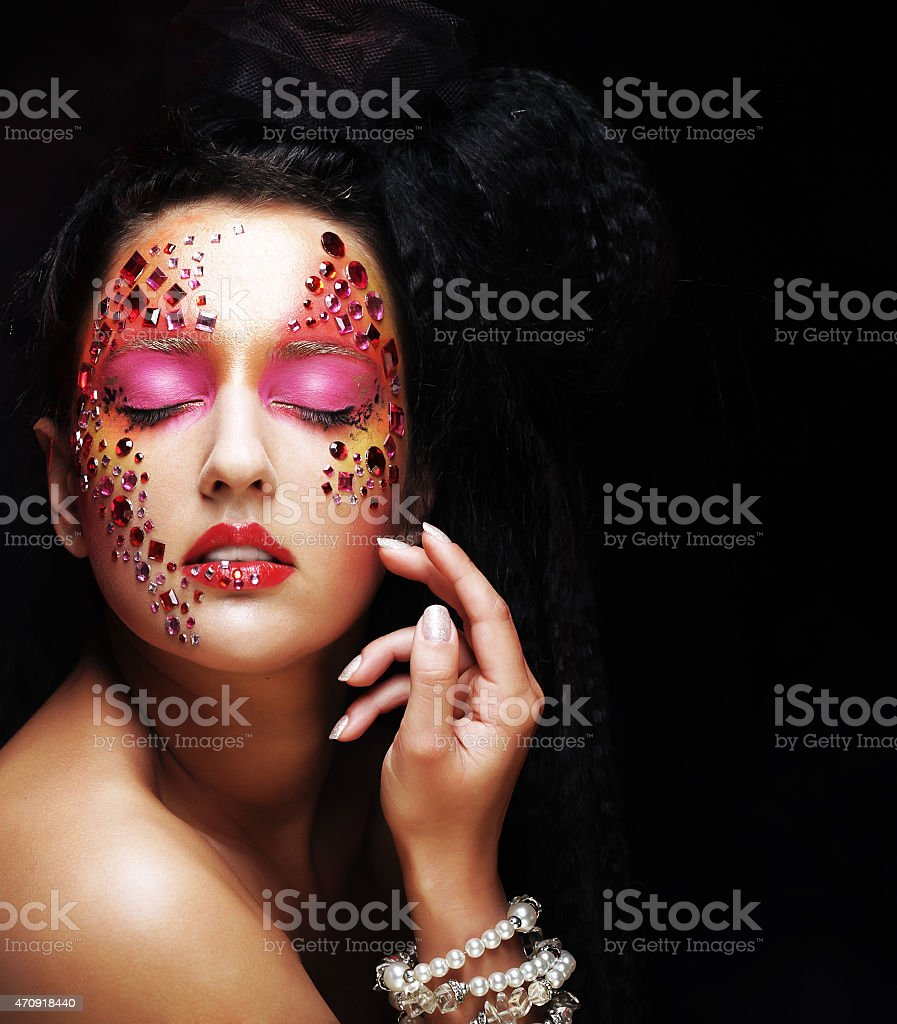 model face with bright  visage stock photo