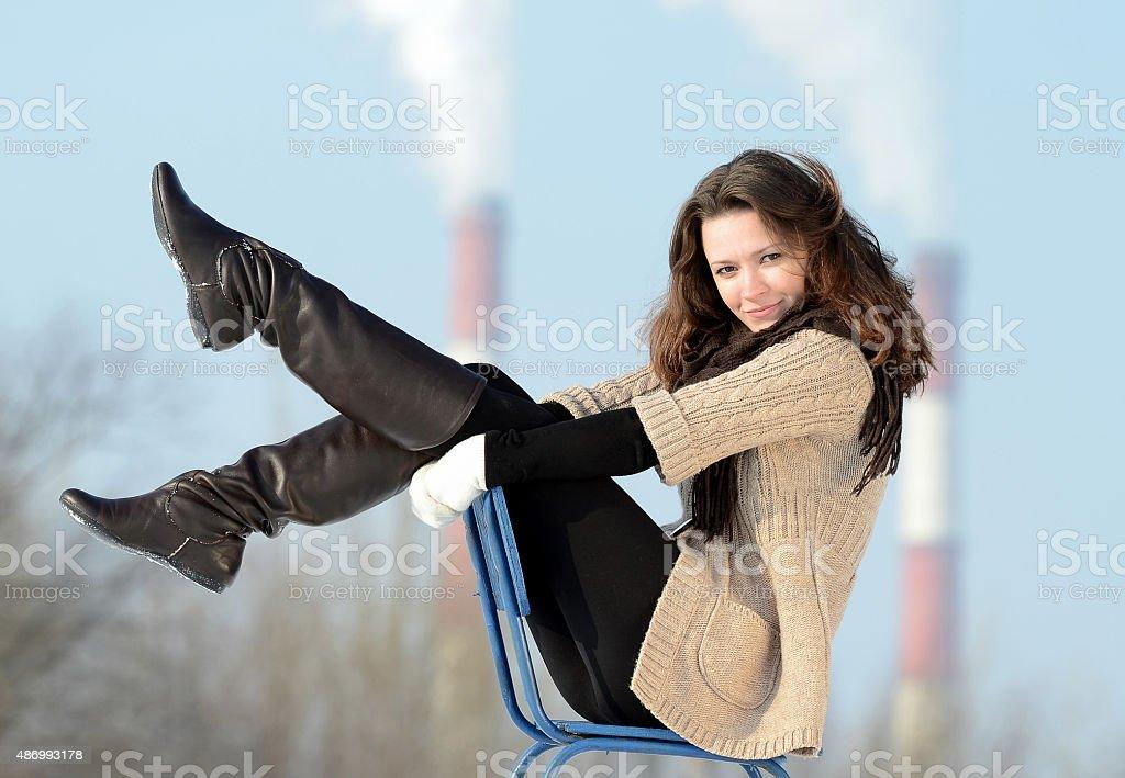 Model girl - winter stock photo