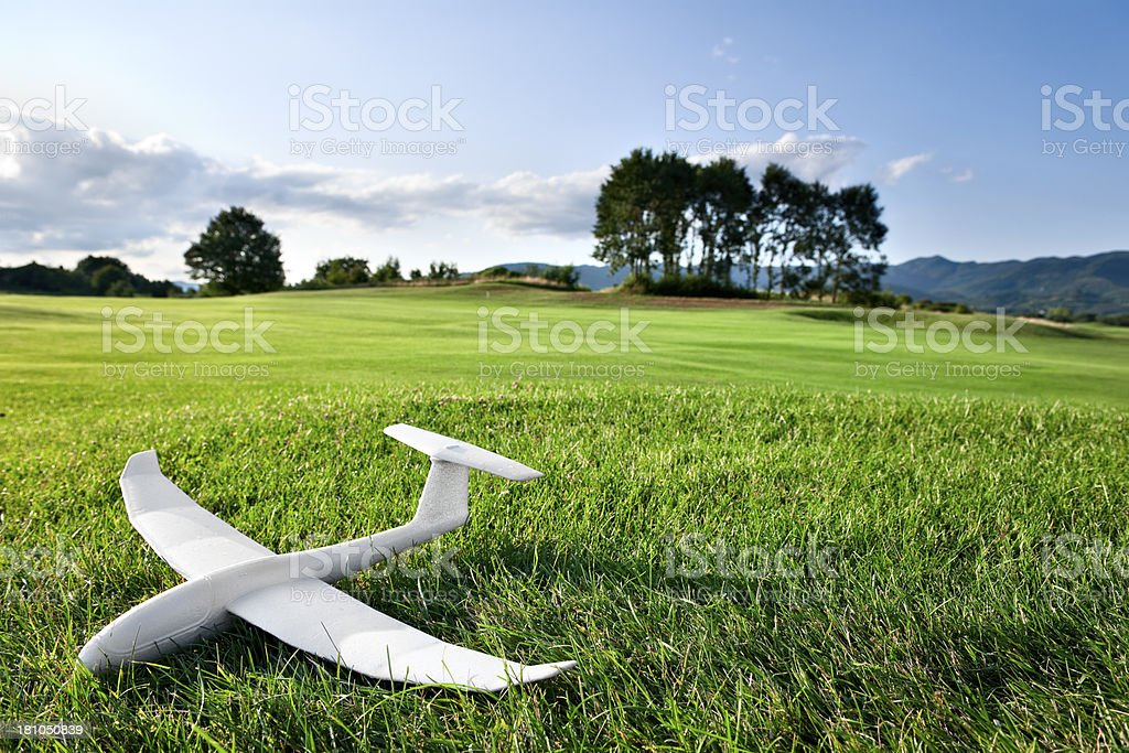 Model Glider Landed On A Lawn.Color Image royalty-free stock photo