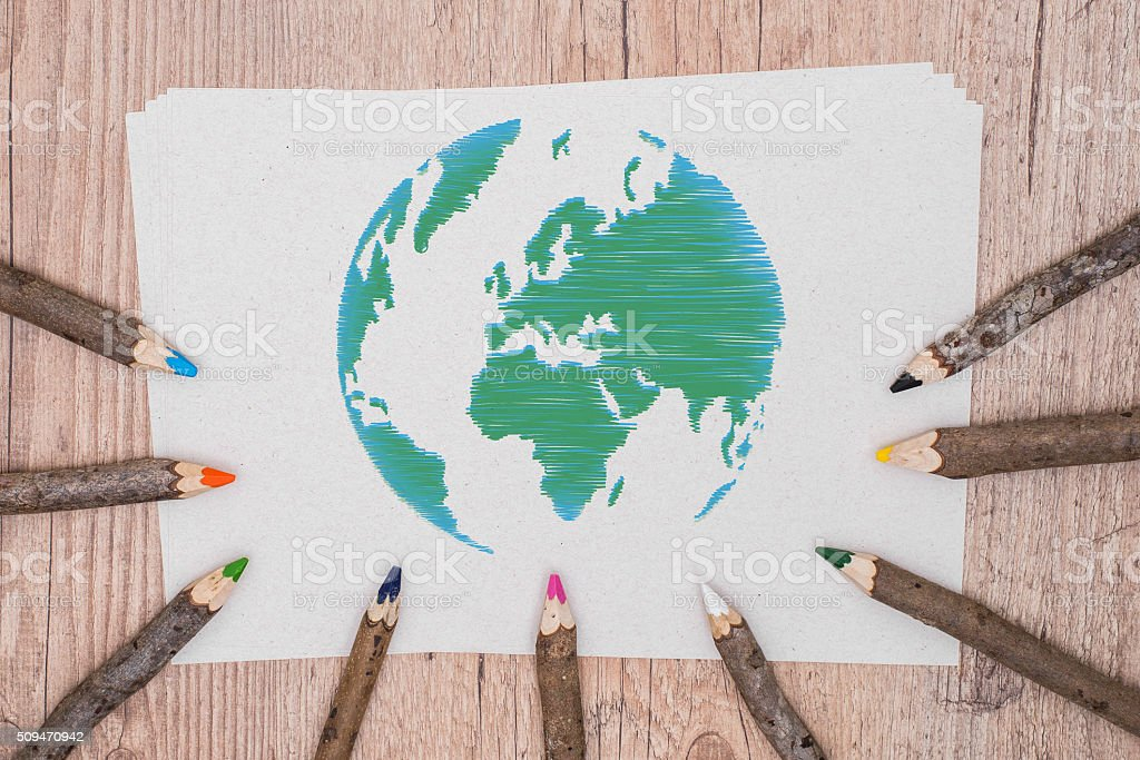 Model green poster design. Save the planet stock photo