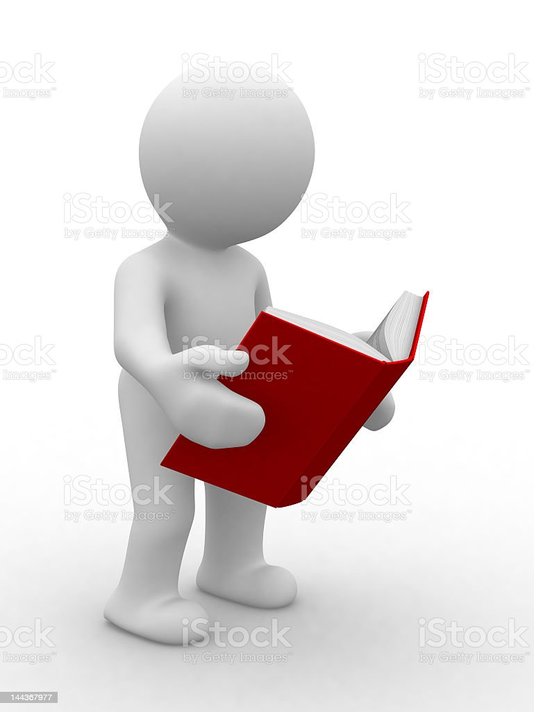 A 3D model holding a book to read royalty-free stock photo