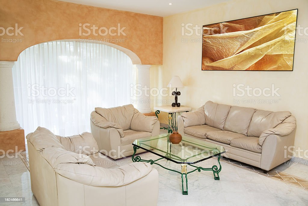 Model Home- Living Room with leather Sofa Hz royalty-free stock photo