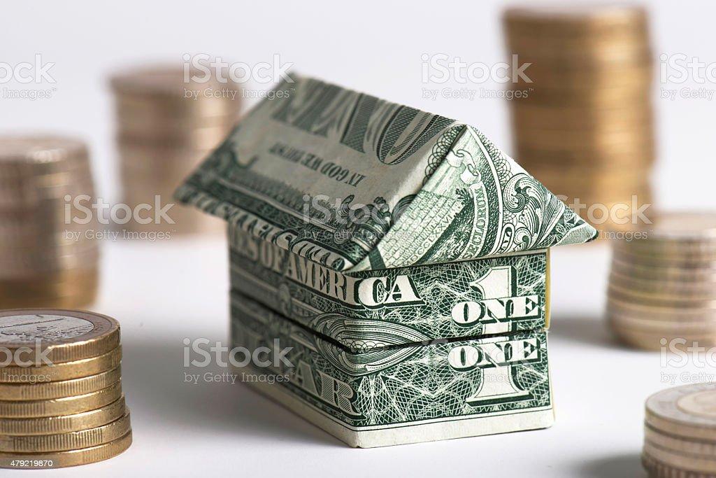 Model Home Of Dollar Bills stock photo