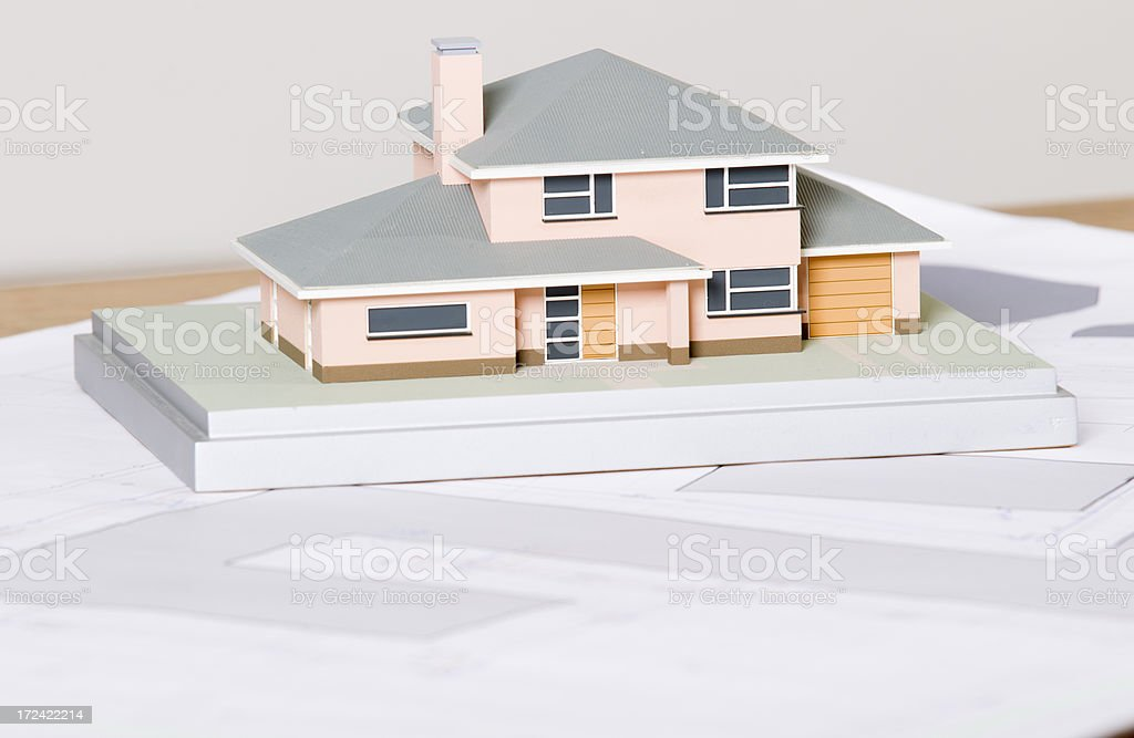 Model home on blue print royalty-free stock photo