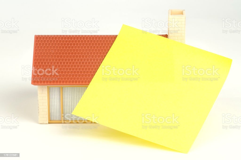 Model Home With Note Paper royalty-free stock photo