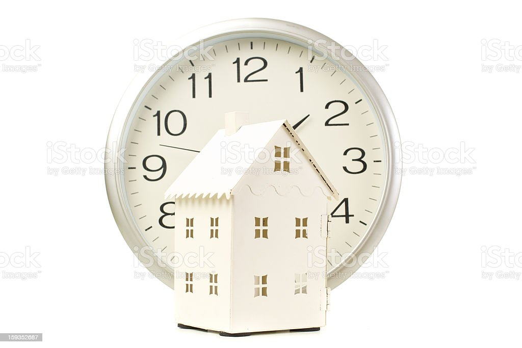 Model House and clock royalty-free stock photo