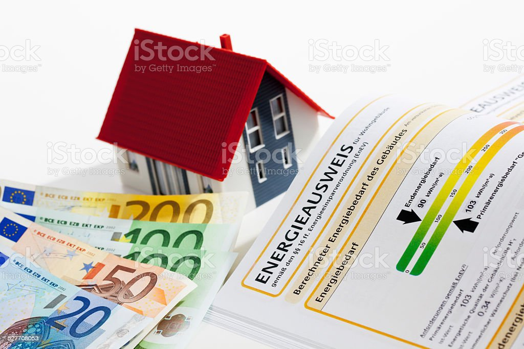 Model house with energy performance certificate and euro notes stock photo