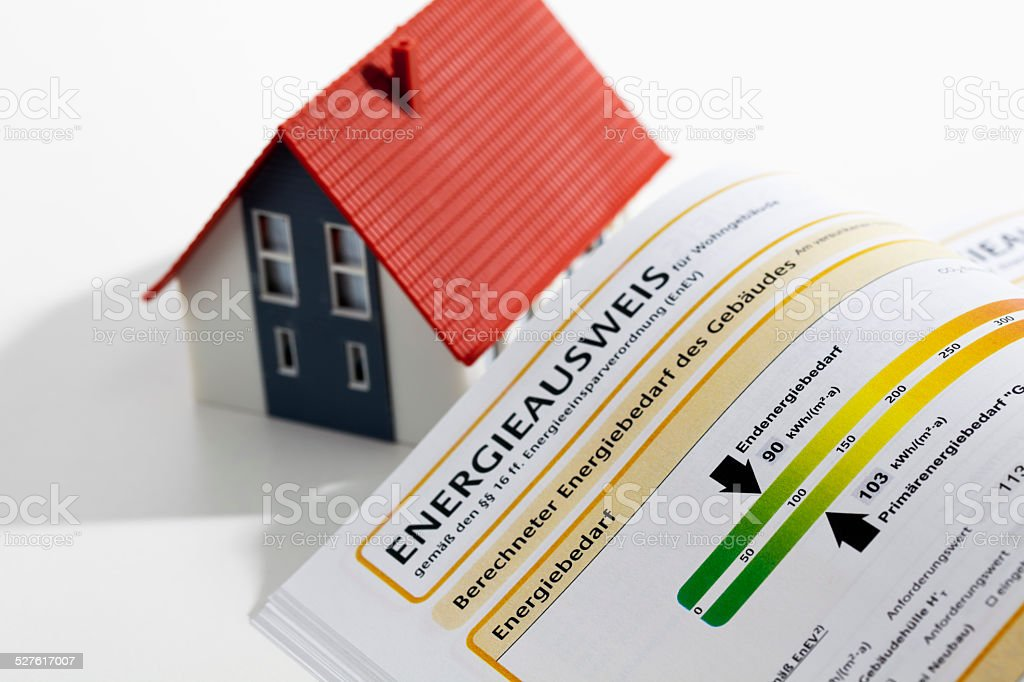 Model house with energy performance certificate stock photo