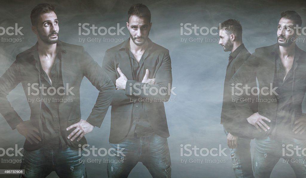 model in a multiple pose stock photo