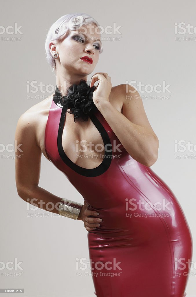 Model in a Red Dress stock photo