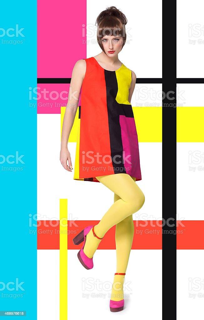 Model In Bright Retro Colors stock photo