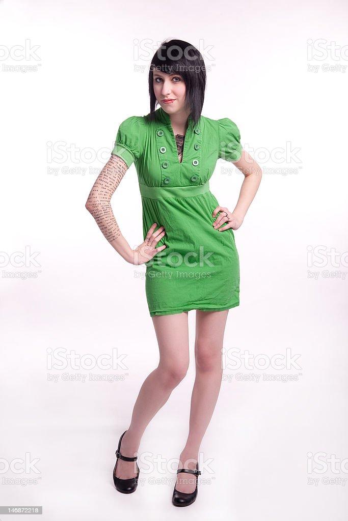 model in green dress stock photo