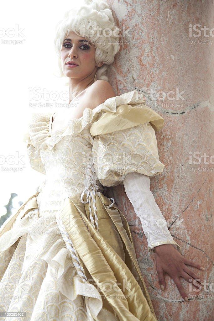Model In Marie Antoinette Themed Costume Dress royalty-free stock photo