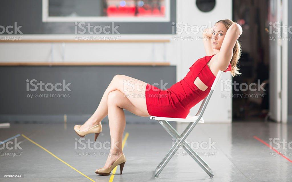 model in red dress stock photo