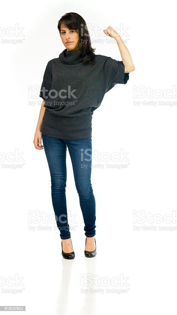 Model in studio isolated on white background full length stock photo