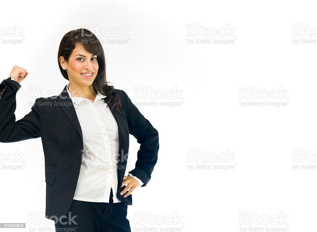 Model in studio isolated on white background medium shot stock photo