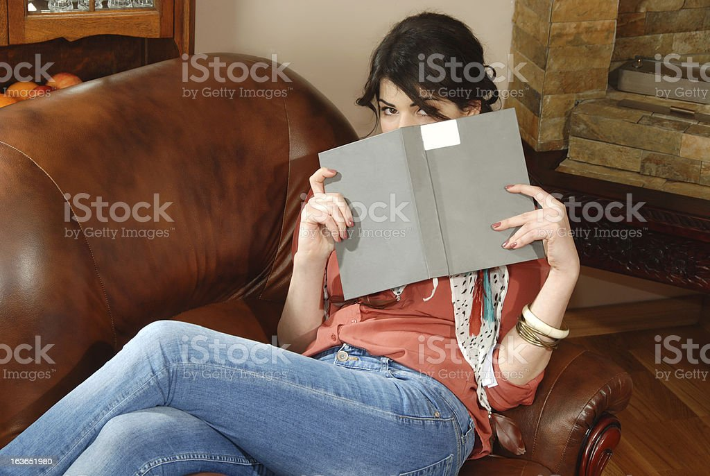 Model in the living room royalty-free stock photo