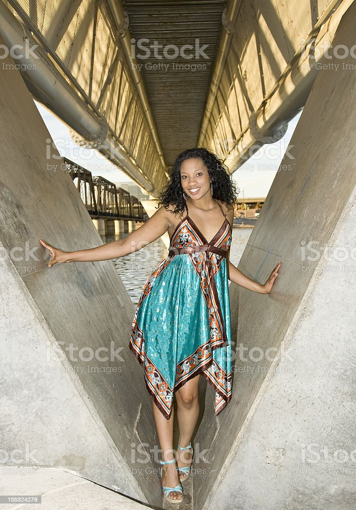 Model in Urban waterfront Setting stock photo