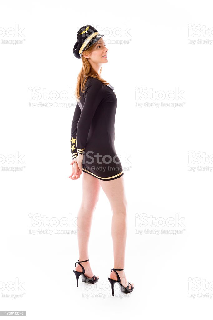 model isolated on plain background back looking behind stock photo