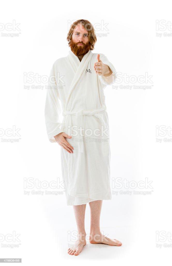 model isolated on plain background greetings hand shake stock photo