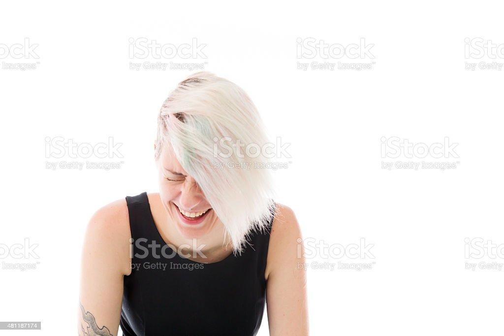 model isolated on white funny laughing stock photo