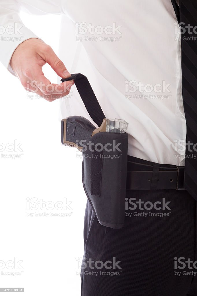 model isolated on white policeman with gun stock photo