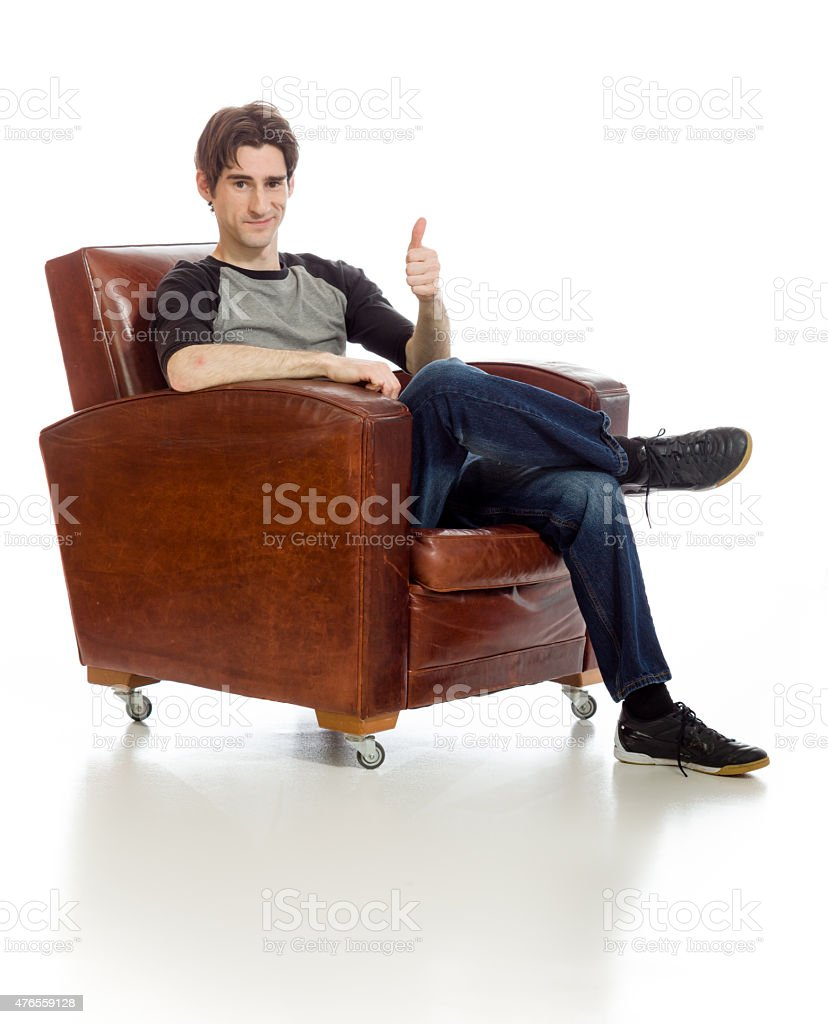 Model isolated thumbs up success stock photo