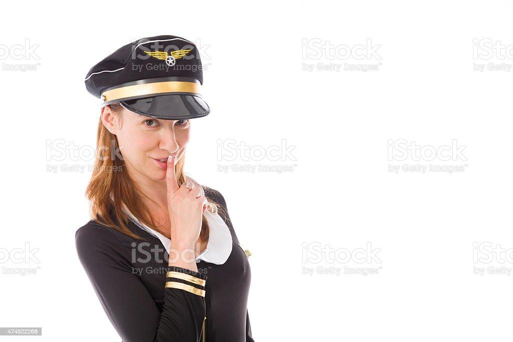model isolated with finger on lips secret stock photo