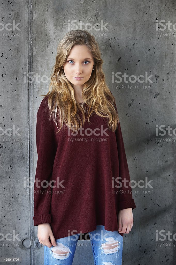 Model looking into camera stock photo