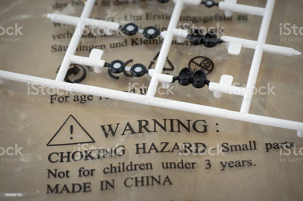 model making warning small parts stock photo