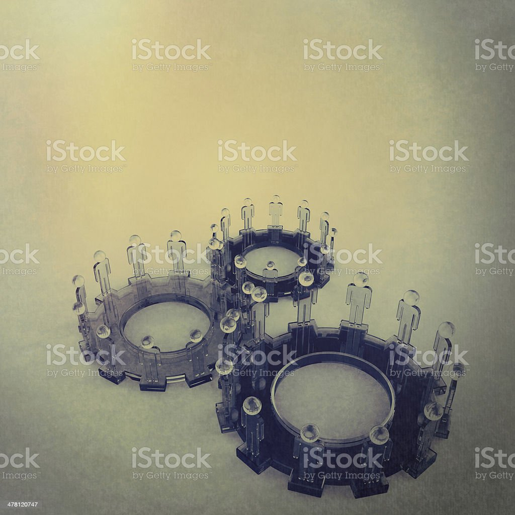 Model of 3d figures on connected cogs royalty-free stock photo