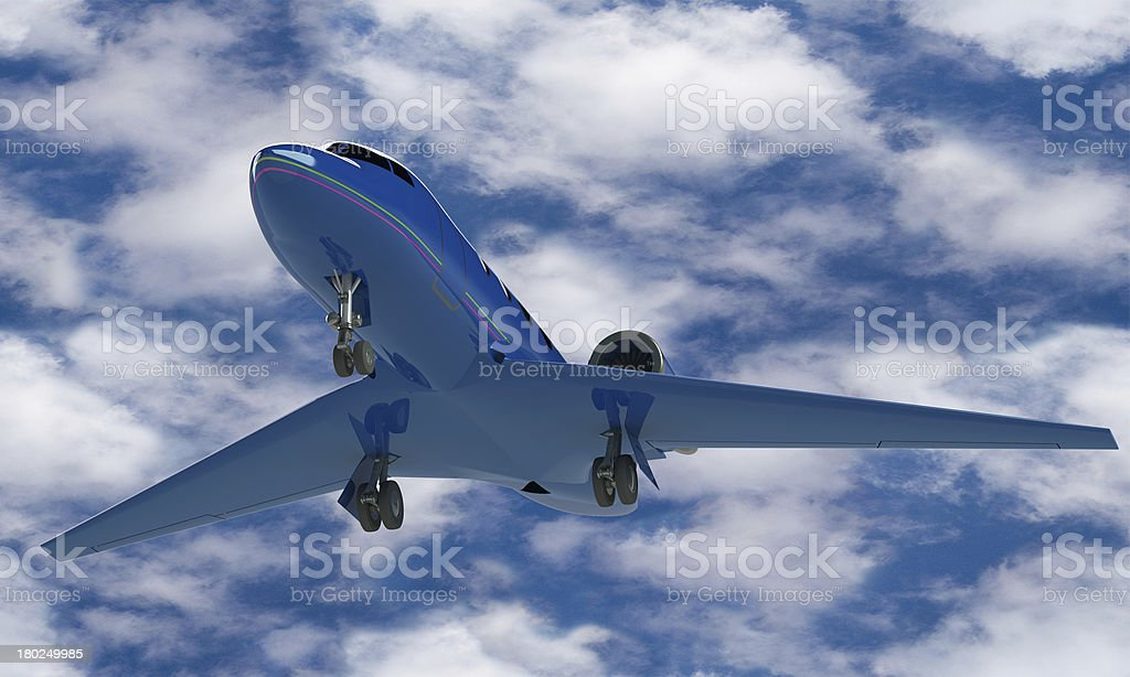 model of a blue airplane agins the sky isolated royalty-free stock photo