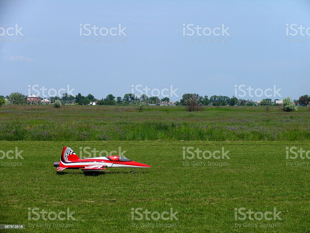 Model of a jet airplane on the remote control stock photo