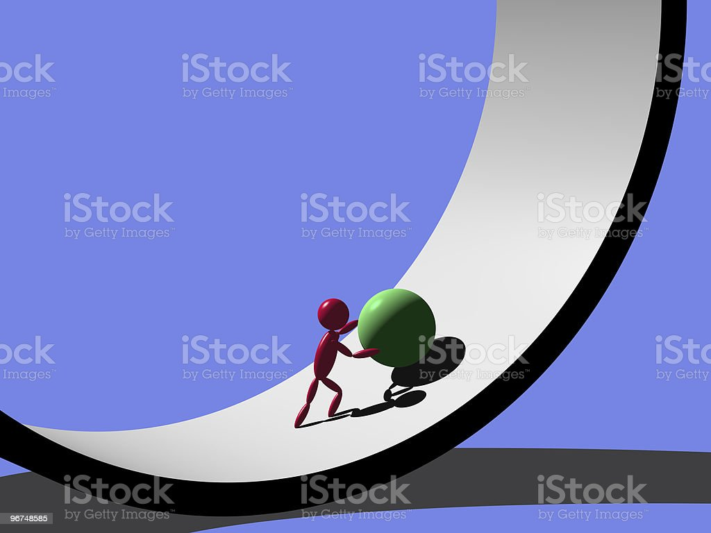 3D model of a man pushing a green ball up a curve royalty-free stock photo