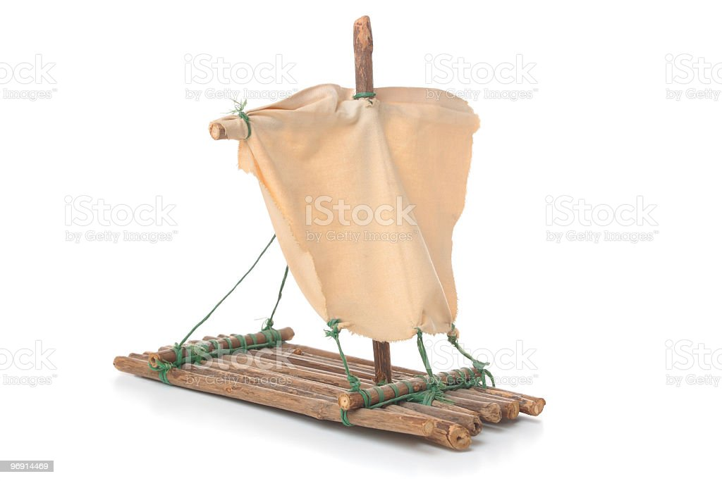 Model of a raft isolated on white royalty-free stock photo