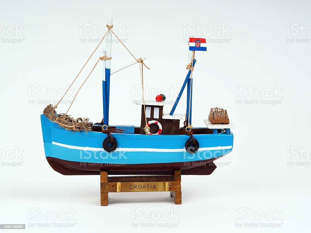 model of a wooden boat stock photo