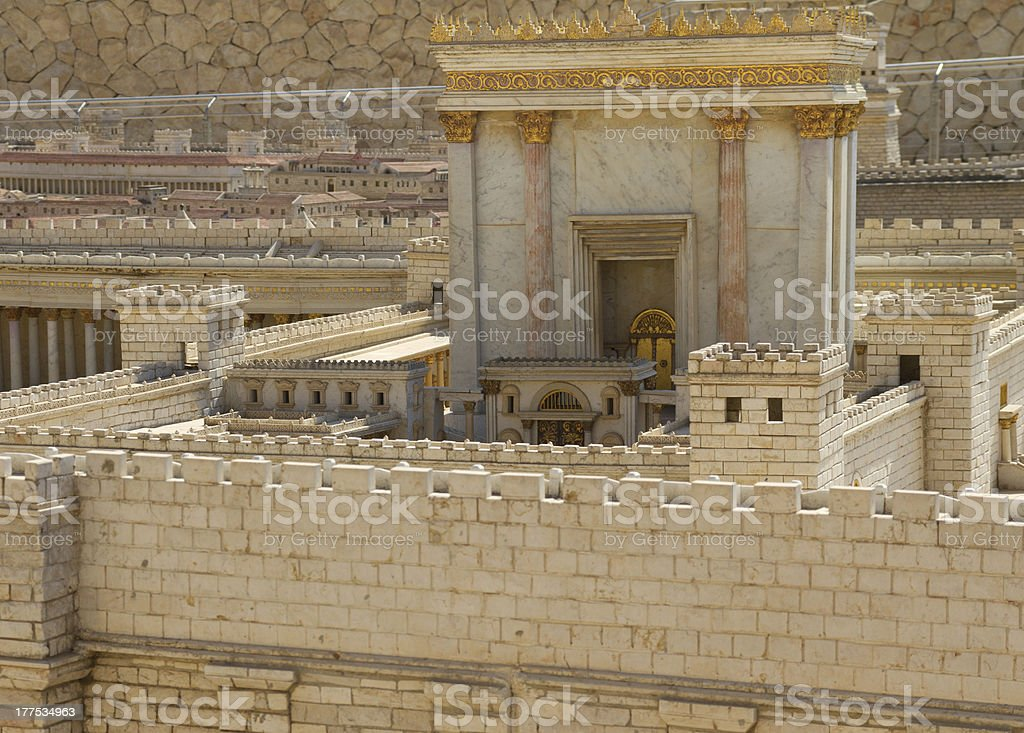 Model of ancient Jerusalem, the Temple stock photo