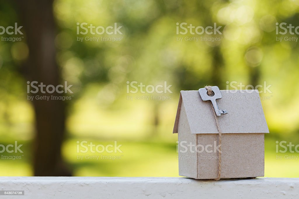 Model of cardboard house, real estate or buying home concept stock photo