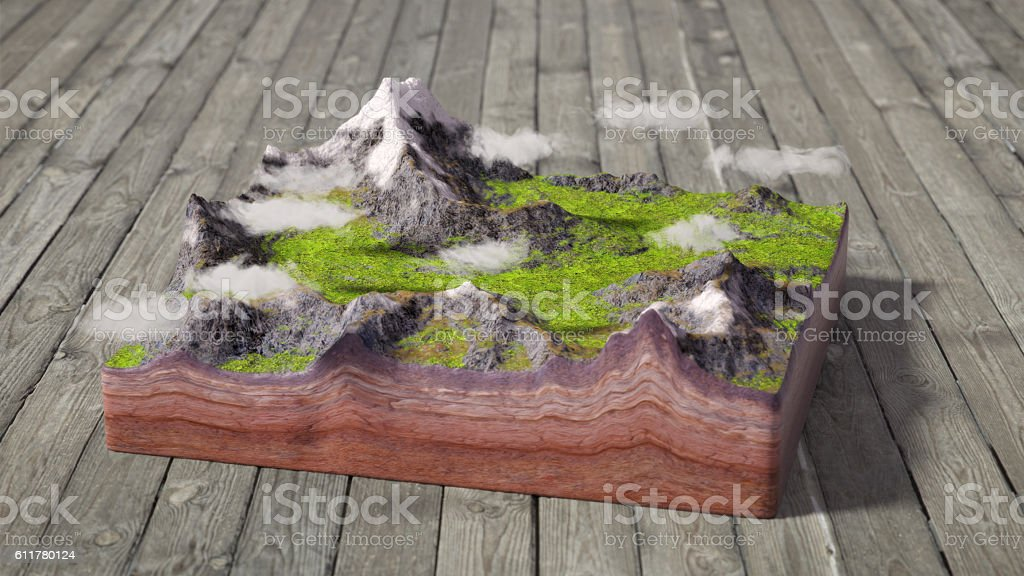 model of cross section of mountains scene stock photo
