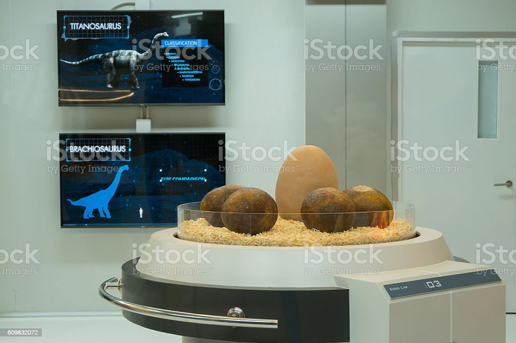 Model of dinosaur egg in laboratory stock photo