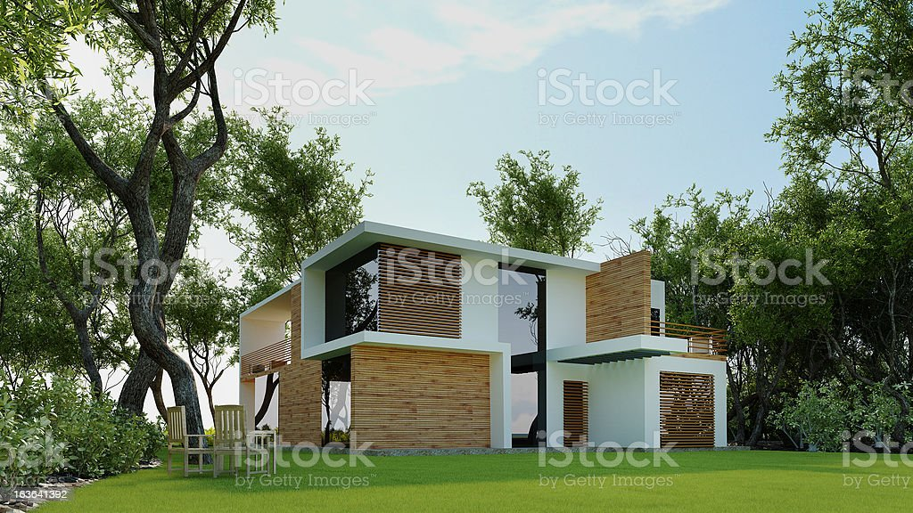3D Model of Modern House in the Forest. Architecture Abstract. stock photo