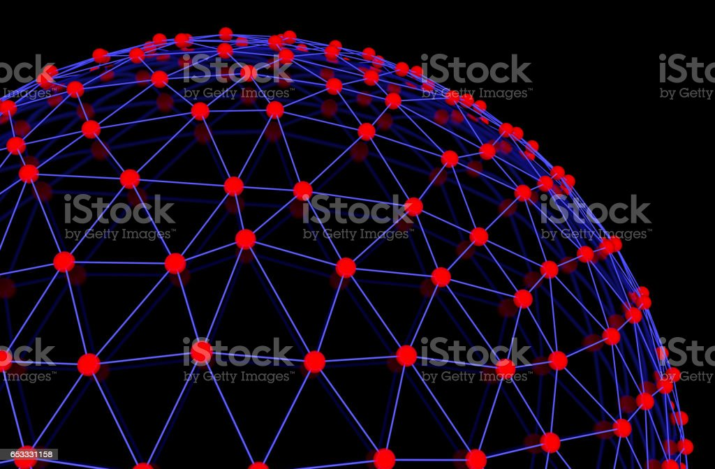 Model of molecular structure on black sphere stock photo