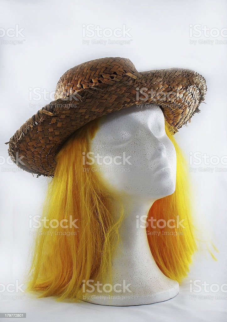Model of polystyrene yellow wig brown hat royalty-free stock photo